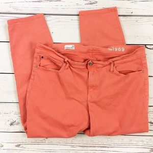 Gap legging jeans size 33 coral pink cropped